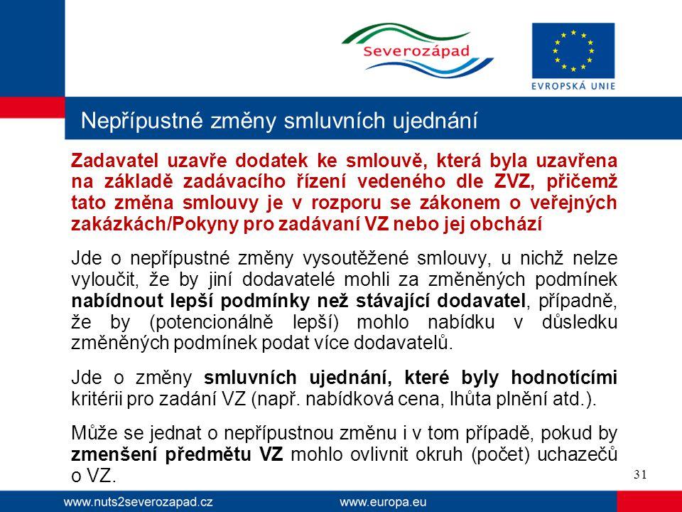 Nepřípustné změny smluvních ujednání Zadavatel uzavře dodatek ke smlouvě, která byla uzavřena na základě zadávacího řízení vedeného dle ZVZ, přičemž t
