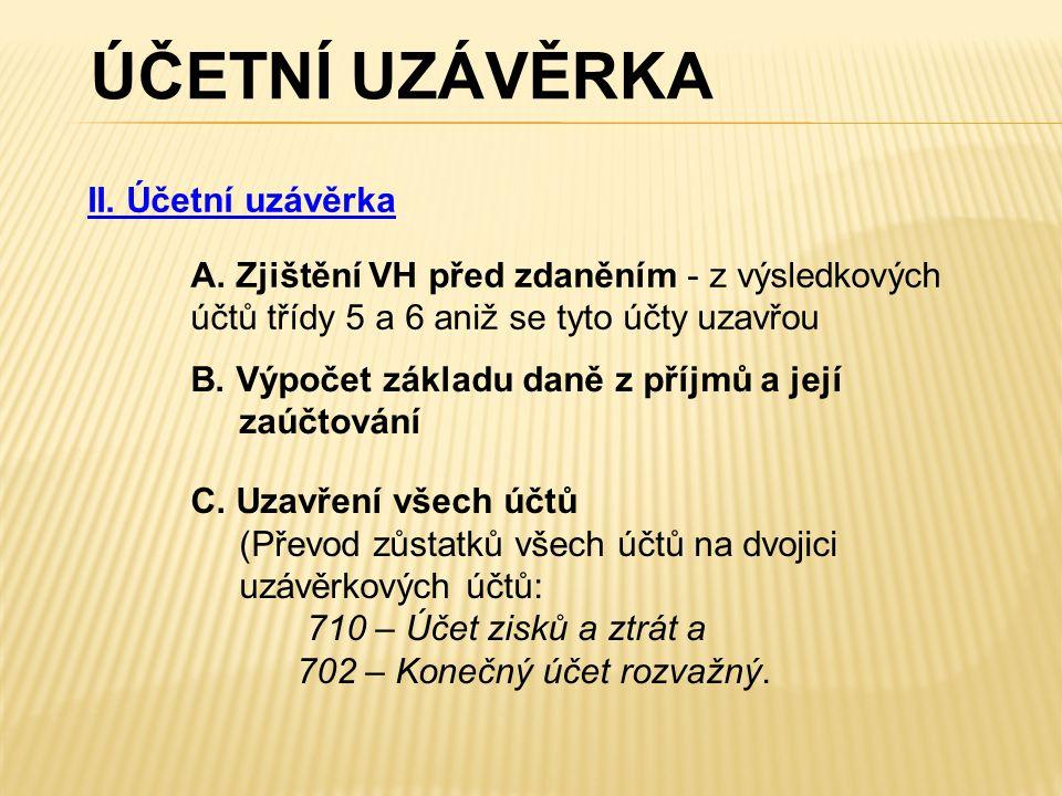 ÚČETNÍ UZÁVĚRKA II. Účetní uzávěrka A.