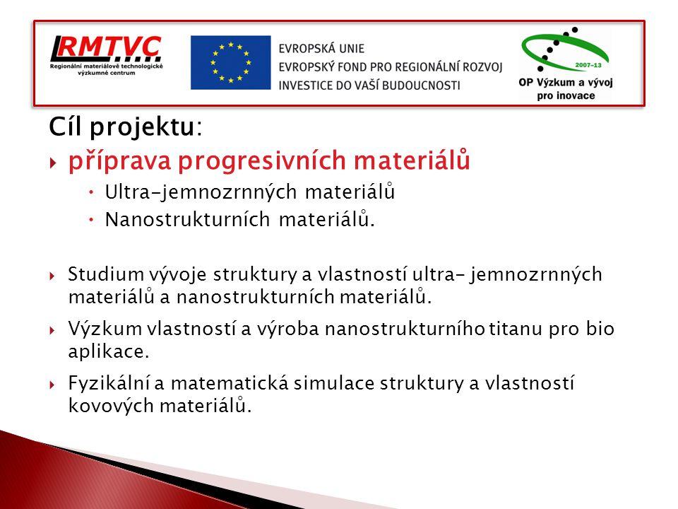 Cíl projektu:  příprava progresivních materiálů  Ultra-jemnozrnných materiálů  Nanostrukturních materiálů.  Studium vývoje struktury a vlastností