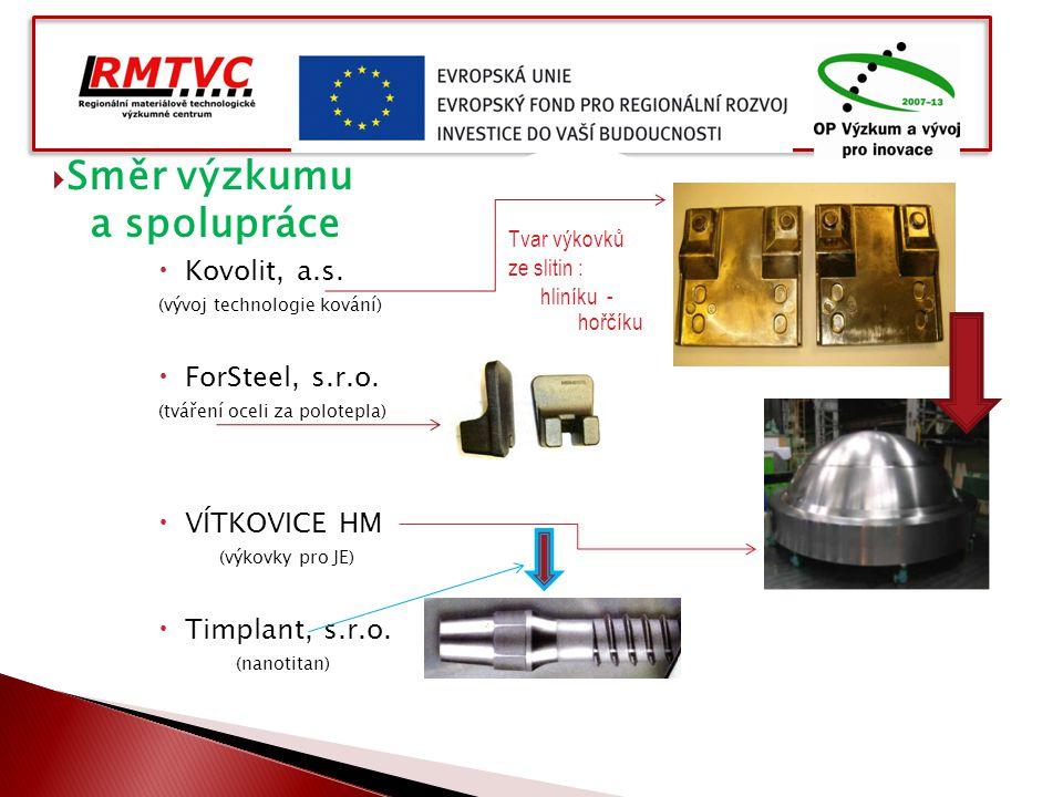  Směr výzkumu a spolupráce  Kovolit, a.s. (vývoj technologie kování)  ForSteel, s.r.o. (tváření oceli za polotepla)  VÍTKOVICE HM (výkovky pro JE)