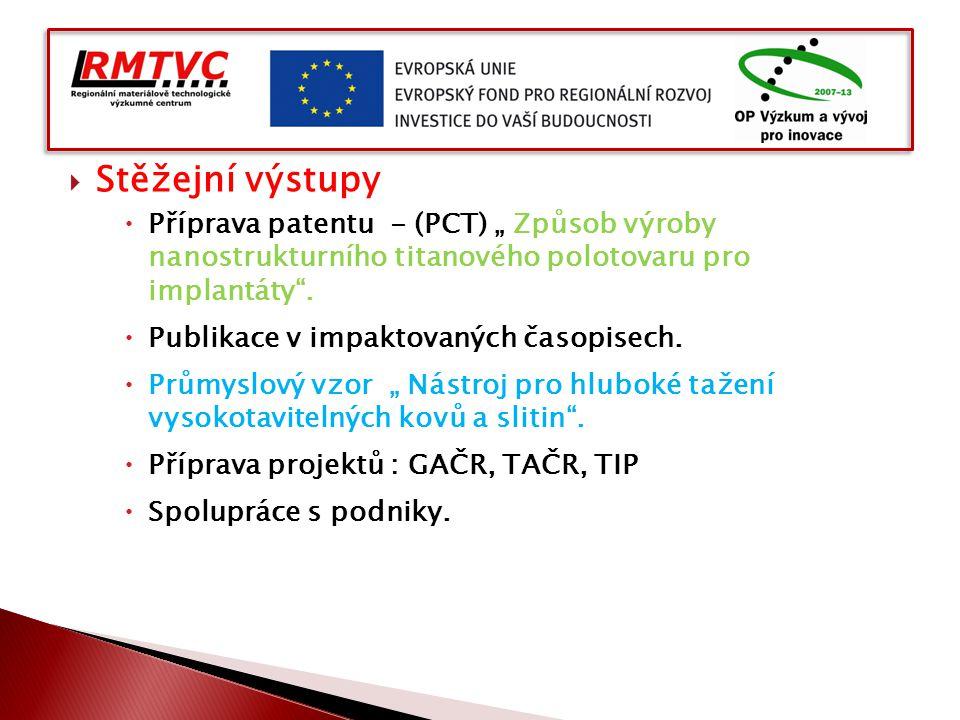 """ Stěžejní výstupy  Příprava patentu - (PCT) """" Způsob výroby nanostrukturního titanového polotovaru pro implantáty"""".  Publikace v impaktovaných časo"""