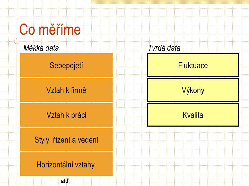 Co měříme Sebepojetí Vztah k firmě Vztah k práci Styly řízení a vedení Měkká dataTvrdá data Fluktuace Výkony Kvalita Horizontální vztahy atď.