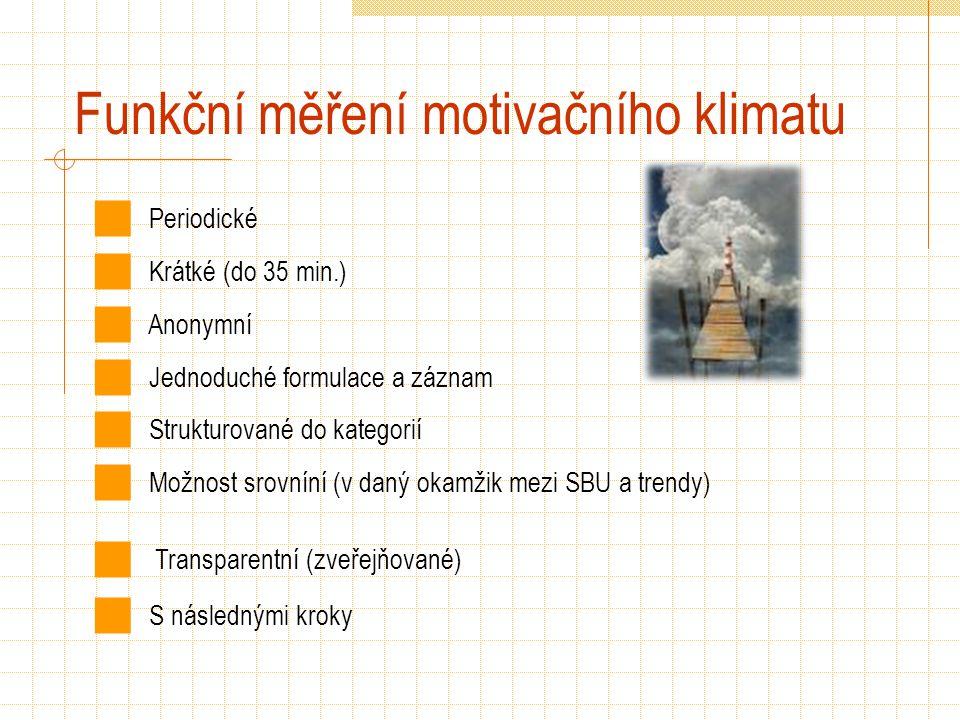 Funkční měření motivačního klimatu Periodické Krátké (do 35 min.) Anonymní Jednoduché formulace a záznam Strukturované do kategorií Možnost srovníní (v daný okamžik mezi SBU a trendy) Transparentní (zveřejňované) S následnými kroky