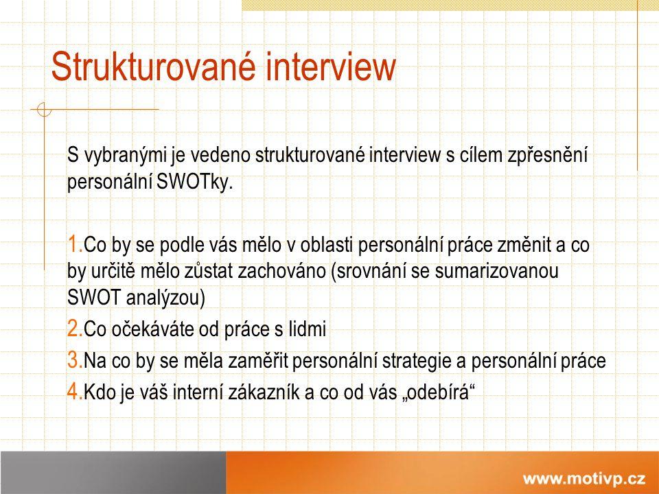 Strukturované interview S vybranými je vedeno strukturované interview s cílem zpřesnění personální SWOTky.