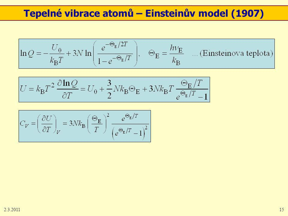 2.3.201115 Tepelné vibrace atomů – Einsteinův model (1907)