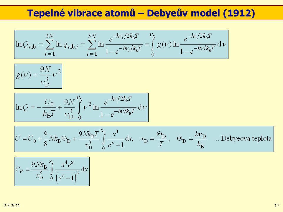 2.3.201117 Tepelné vibrace atomů – Debyeův model (1912)