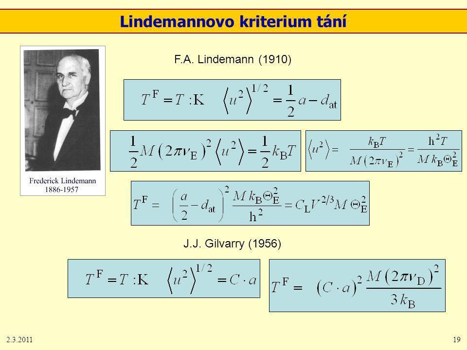2.3.201119 Lindemannovo kriterium tání F.A. Lindemann (1910) J.J. Gilvarry (1956)