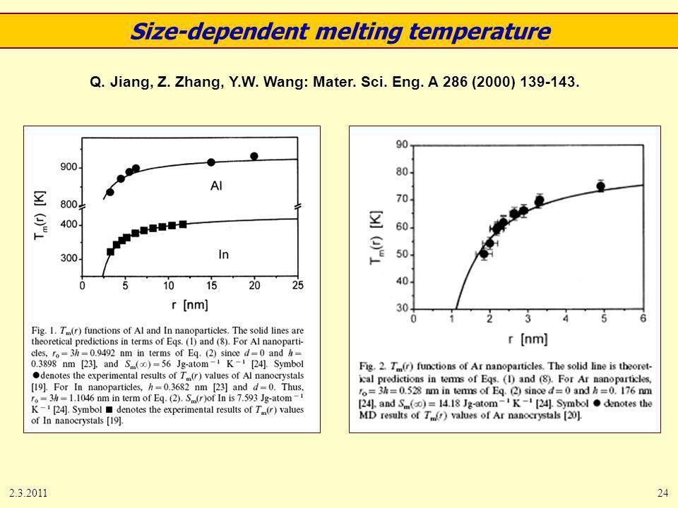 2.3.201124 Q. Jiang, Z. Zhang, Y.W. Wang: Mater. Sci. Eng. A 286 (2000) 139-143. Size-dependent melting temperature
