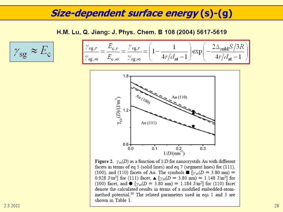 2.3.201128 H.M. Lu, Q. Jiang: J. Phys. Chem. B 108 (2004) 5617-5619 Size-dependent surface energy (s)-(g)