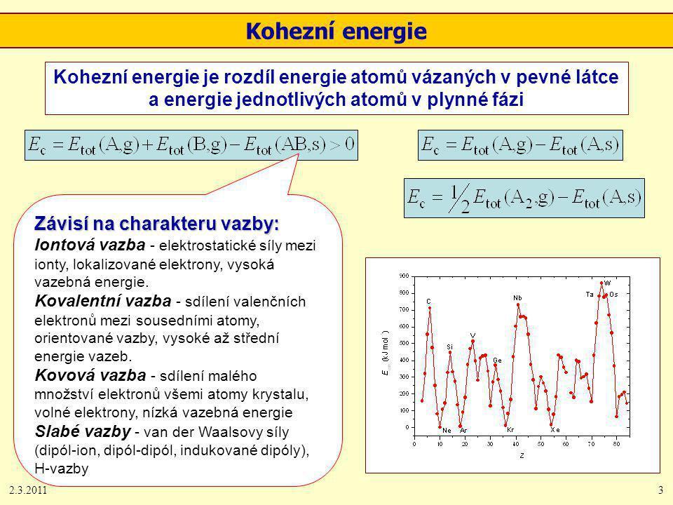 2.3.20113 Kohezní energie Kohezní energie je rozdíl energie atomů vázaných v pevné látce a energie jednotlivých atomů v plynné fázi Závisí na charakte