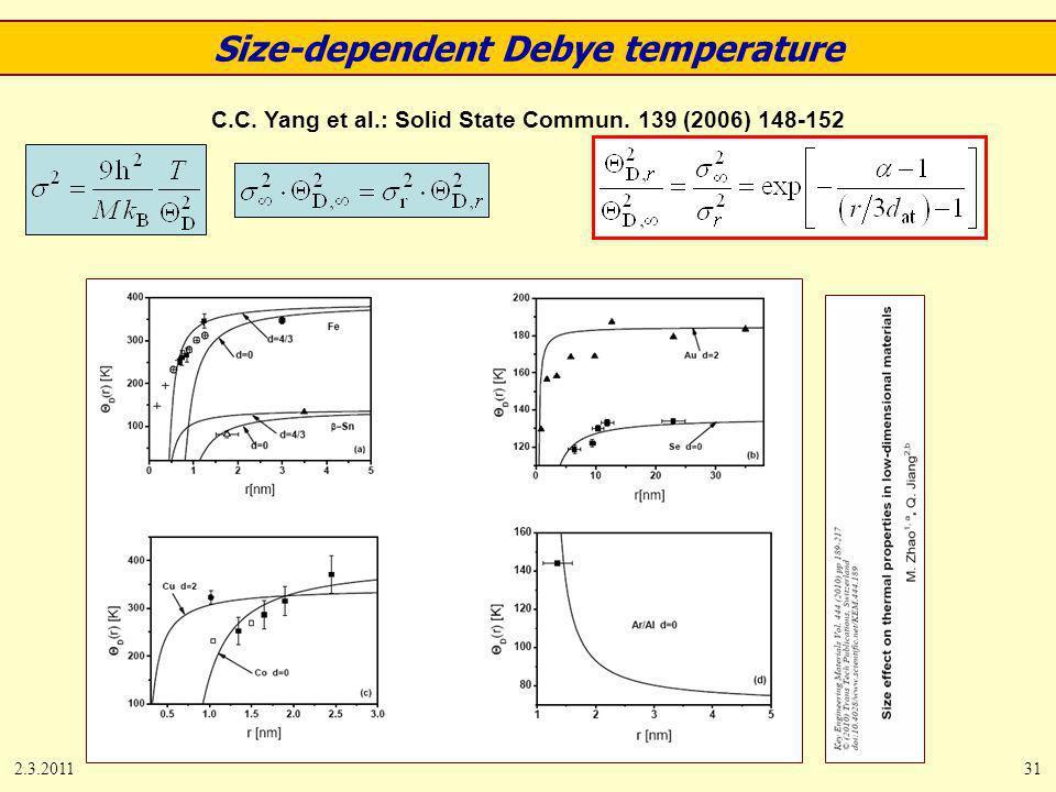 2.3.201131 C.C. Yang et al.: Solid State Commun. 139 (2006) 148-152 Size-dependent Debye temperature