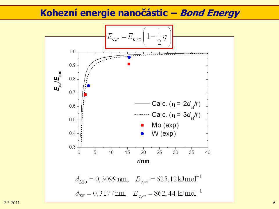 2.3.20116 Kohezní energie nanočástic – Bond Energy