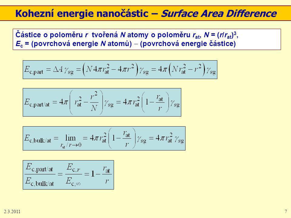 2.3.20117 Kohezní energie nanočástic – Surface Area Difference Částice o poloměru r tvořená N atomy o poloměru r at, N = (r/r at ) 3, E c = (povrchová