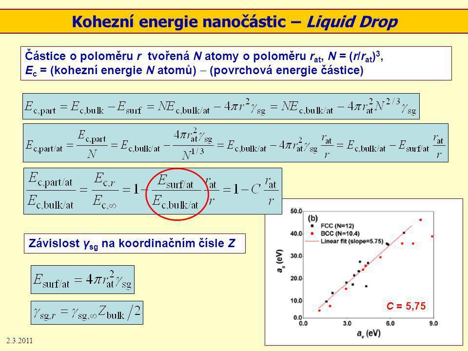 2.3.20118 C = 5,75 Kohezní energie nanočástic – Liquid Drop Částice o poloměru r tvořená N atomy o poloměru r at, N = (r/r at ) 3, E c = (kohezní energie N atomů)  (povrchová energie částice) Závislost γ sg na koordinačním čísle Z