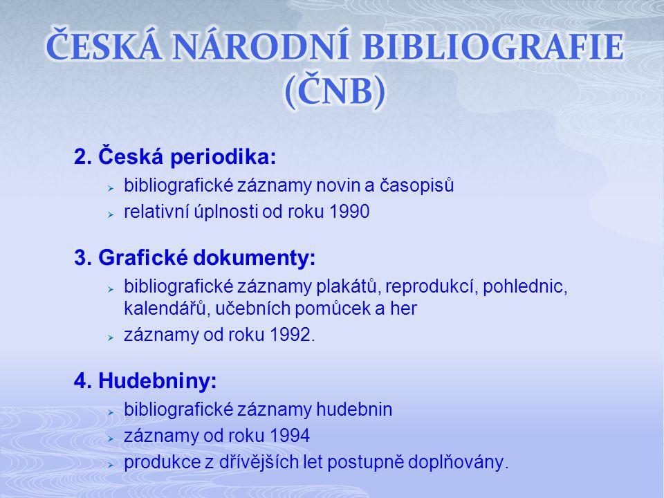 2. Česká periodika:  bibliografické záznamy novin a časopisů  relativní úplnosti od roku 1990 3.