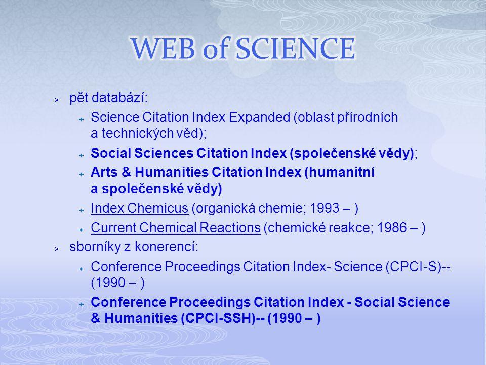  pět databází:  Science Citation Index Expanded (oblast přírodních a technických věd);  Social Sciences Citation Index (společenské vědy);  Arts & Humanities Citation Index (humanitní a společenské vědy)  Index Chemicus (organická chemie; 1993 – ) Index Chemicus  Current Chemical Reactions (chemické reakce; 1986 – ) Current Chemical Reactions  sborníky z konerencí:  Conference Proceedings Citation Index- Science (CPCI-S)-- (1990 – )  Conference Proceedings Citation Index - Social Science & Humanities (CPCI-SSH)-- (1990 – )