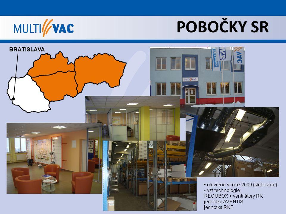 POBOČKY SR BRATISLAVA otevřena v roce 2009 (stěhování) vzt technologie: RECUBOX + ventilátory RK jednotka AVENTIS jednotka RKE