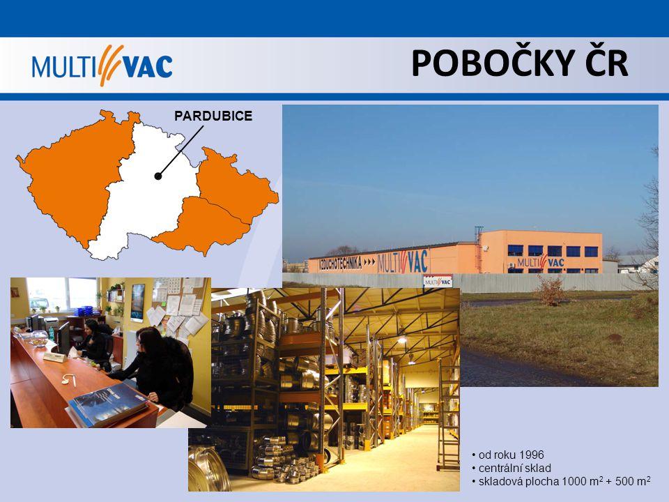 POBOČKY ČR PARDUBICE od roku 1996 centrální sklad skladová plocha 1000 m 2 + 500 m 2