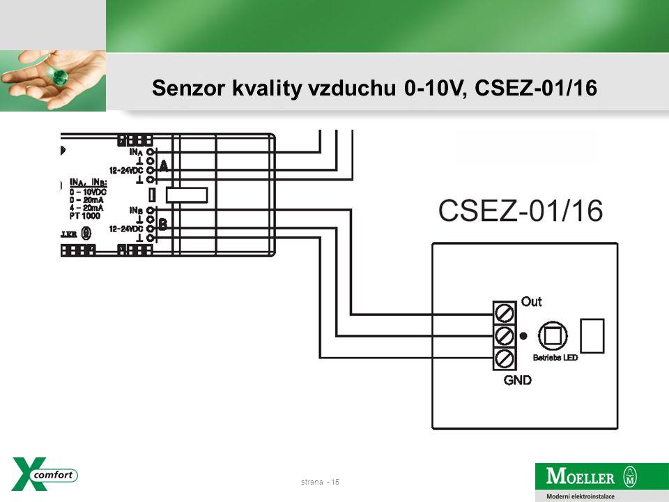 strana - 14 Senzor kvality vzduchu 0-10V, CSEZ-01/16 Vyhodnocení kvality oproti standardnímu senzoru C02
