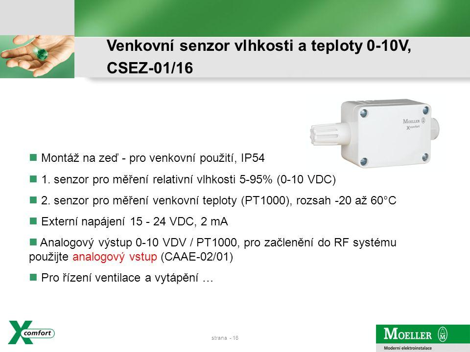 strana - 15 Senzor kvality vzduchu 0-10V, CSEZ-01/16
