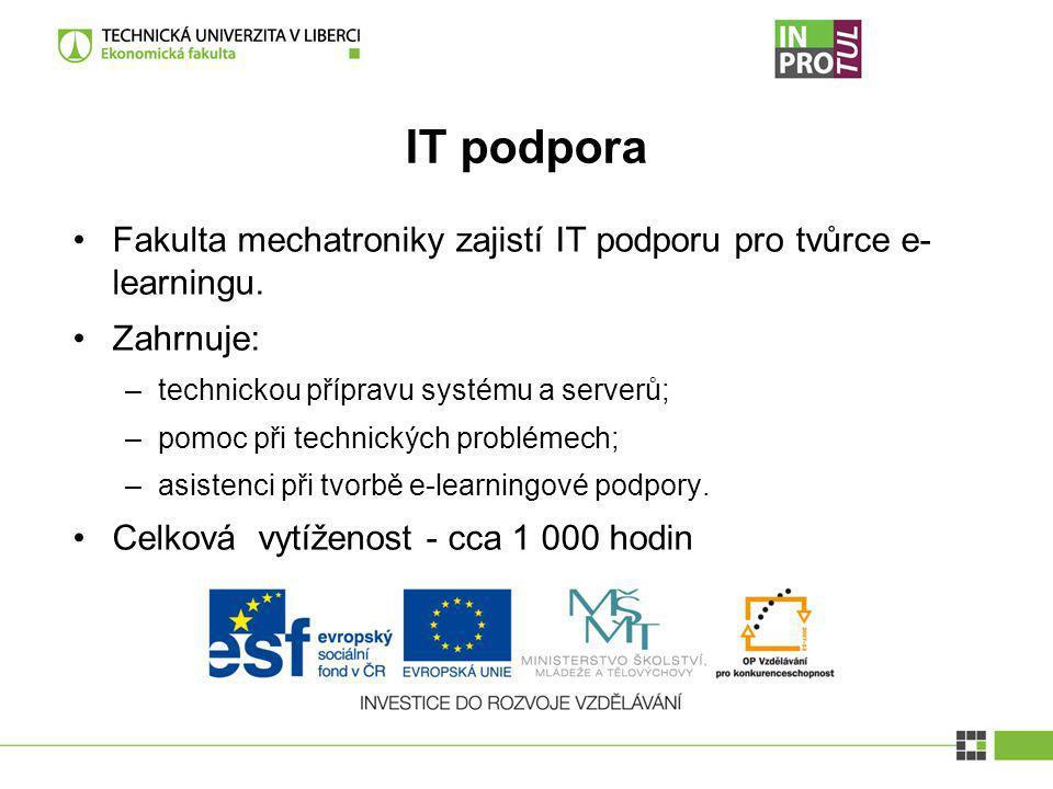 IT podpora Fakulta mechatroniky zajistí IT podporu pro tvůrce e- learningu. Zahrnuje: –technickou přípravu systému a serverů; –pomoc při technických p