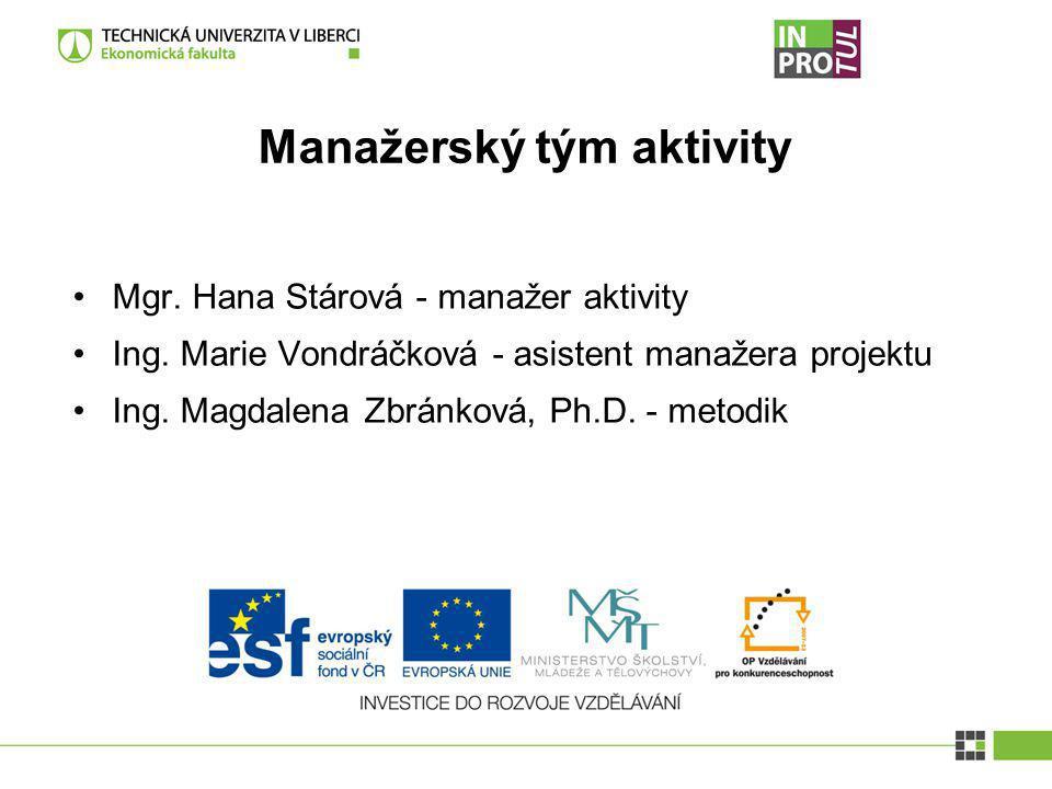 Manažerský tým aktivity Mgr. Hana Stárová - manažer aktivity Ing. Marie Vondráčková - asistent manažera projektu Ing. Magdalena Zbránková, Ph.D. - met