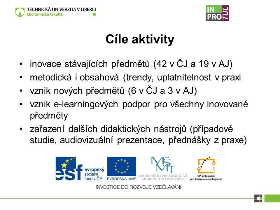Cíle aktivity inovace stávajících předmětů (42 v ČJ a 19 v AJ) metodická i obsahová (trendy, uplatnitelnost v praxi vznik nových předmětů (6 v ČJ a 3