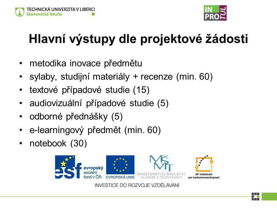 Hlavní výstupy dle projektové žádosti metodika inovace předmětu sylaby, studijní materiály + recenze (min. 60) textové případové studie (15) audiovizu