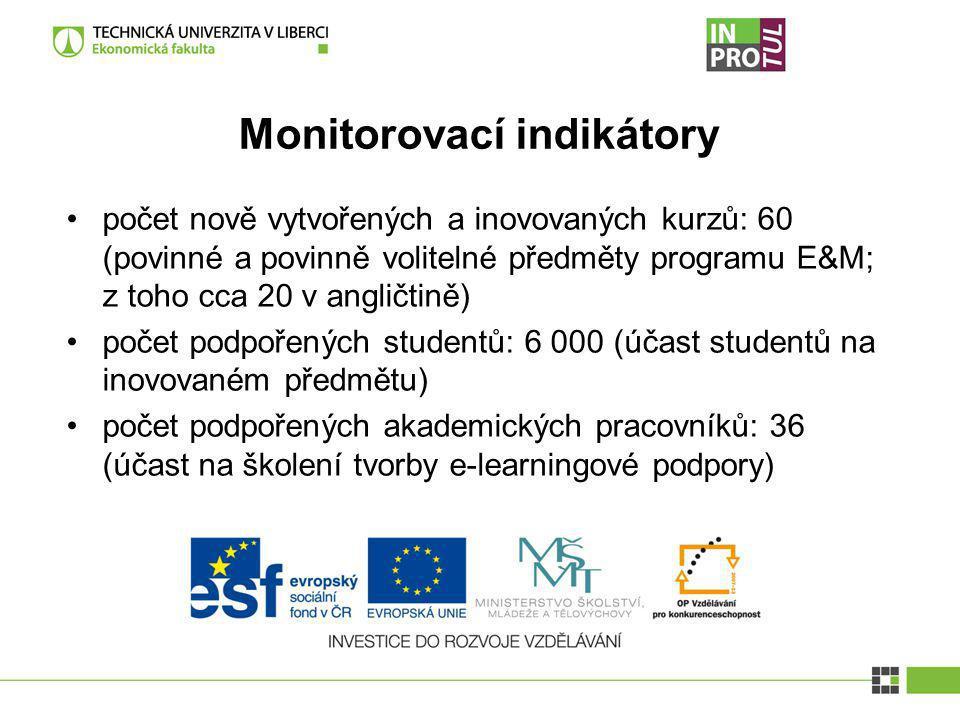 Monitorovací indikátory počet nově vytvořených a inovovaných kurzů: 60 (povinné a povinně volitelné předměty programu E&M; z toho cca 20 v angličtině)
