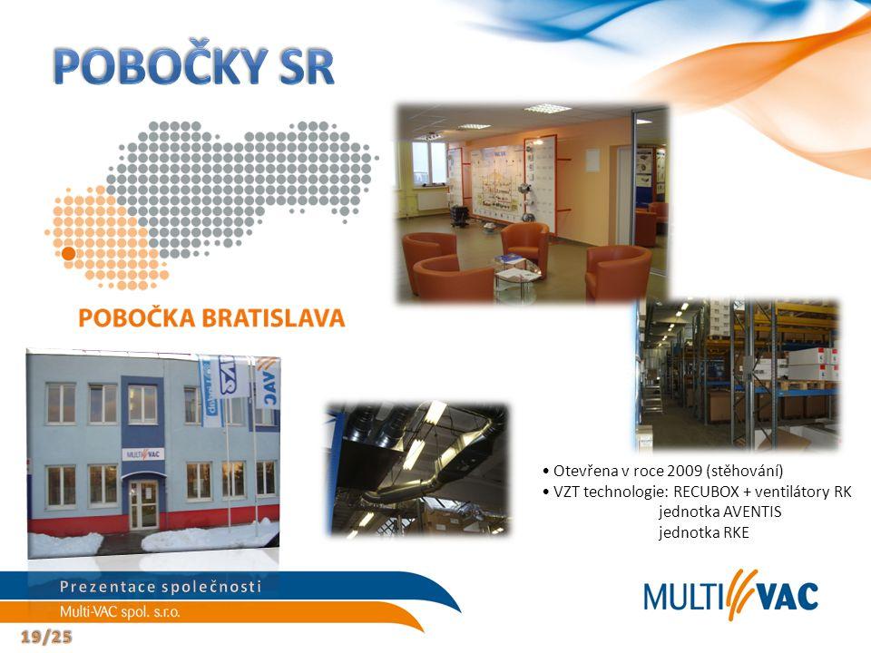 Otevřena v roce 2009 (stěhování) VZT technologie: RECUBOX + ventilátory RK jednotka AVENTIS jednotka RKE
