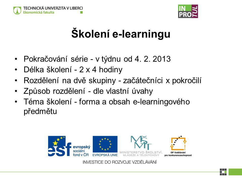 Školení e-learningu Pokračování série - v týdnu od 4.