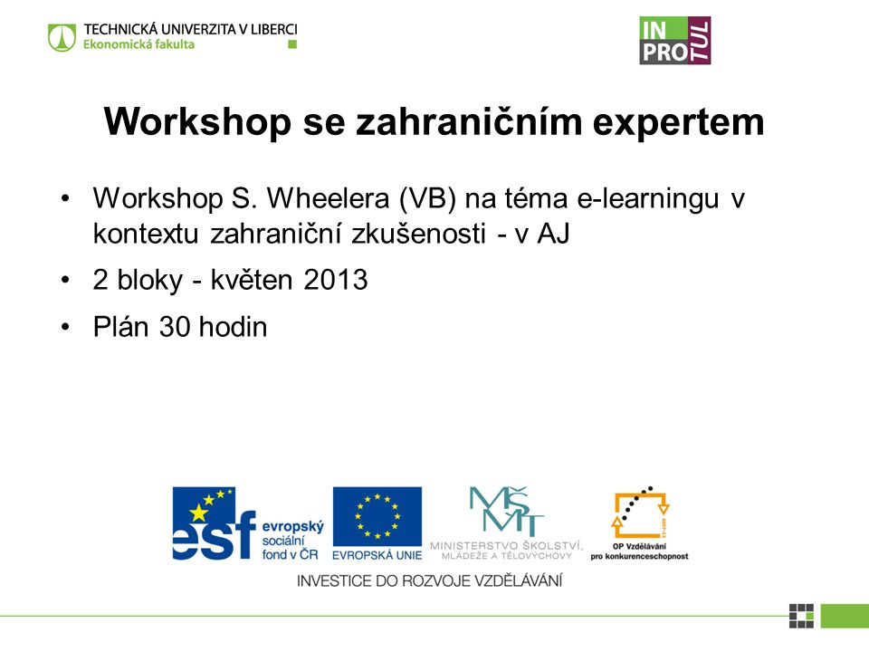 Workshop se zahraničním expertem Workshop S.