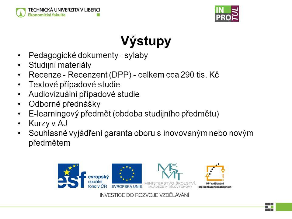Výstupy Pedagogické dokumenty - sylaby Studijní materiály Recenze - Recenzent (DPP) - celkem cca 290 tis.