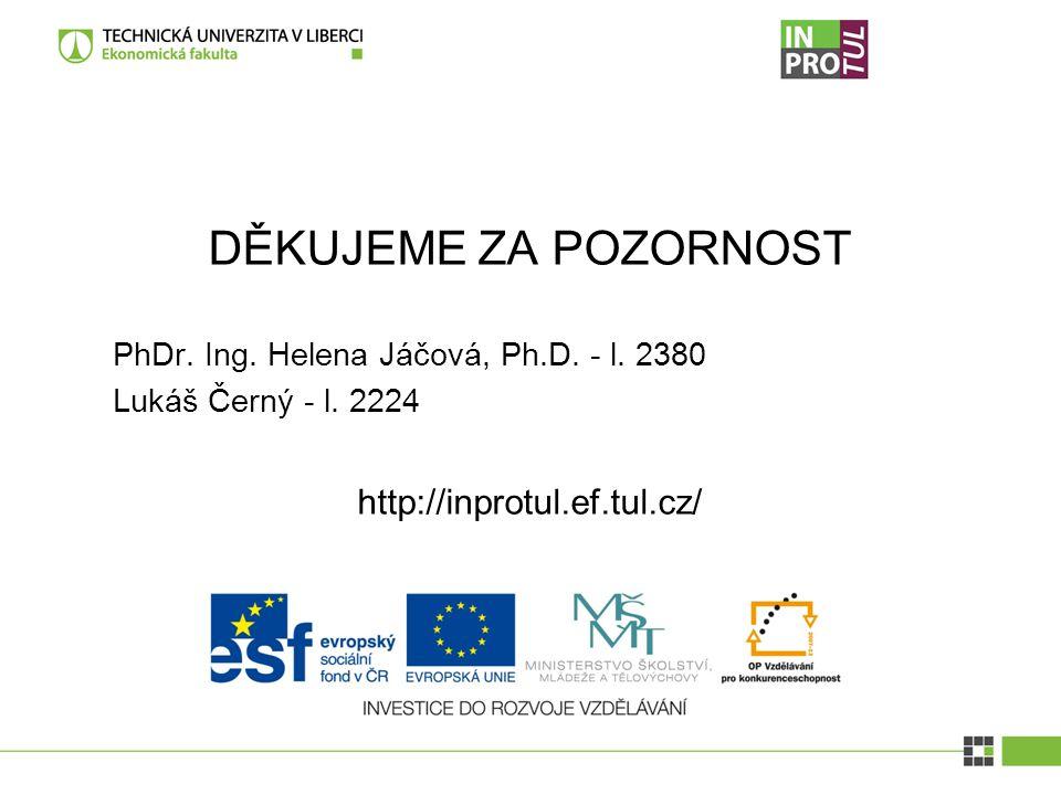 DĚKUJEME ZA POZORNOST PhDr. Ing. Helena Jáčová, Ph.D.