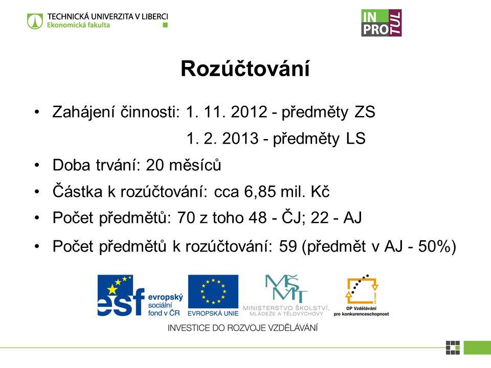 Rozúčtování Zahájení činnosti: 1. 11. 2012 - předměty ZS 1.