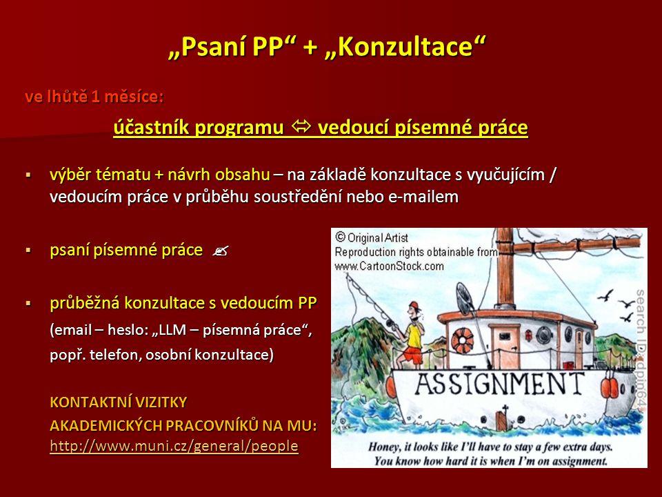 """""""Psaní PP"""" + """"Konzultace"""" ve lhůtě 1 měsíce: účastník programu  vedoucí písemné práce  výběr tématu + návrh obsahu – na základě konzultace s vyučují"""