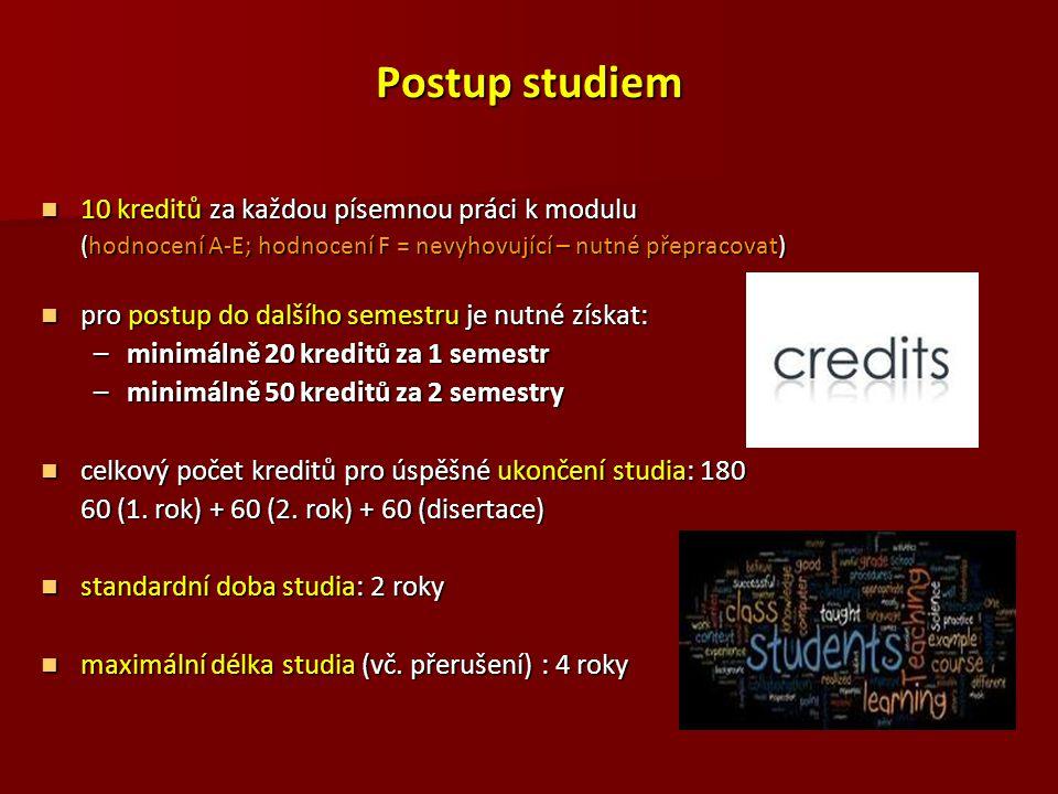 Postup studiem 10 kreditů za každou písemnou práci k modulu 10 kreditů za každou písemnou práci k modulu (hodnocení A-E; hodnocení F = nevyhovující –