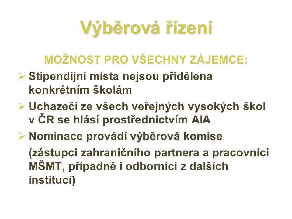 Výběrová řízení MOŽNOST PRO VŠECHNY ZÁJEMCE:  Stipendijní místa nejsou přidělena konkrétním školám  Uchazeči ze všech veřejných vysokých škol v ČR s