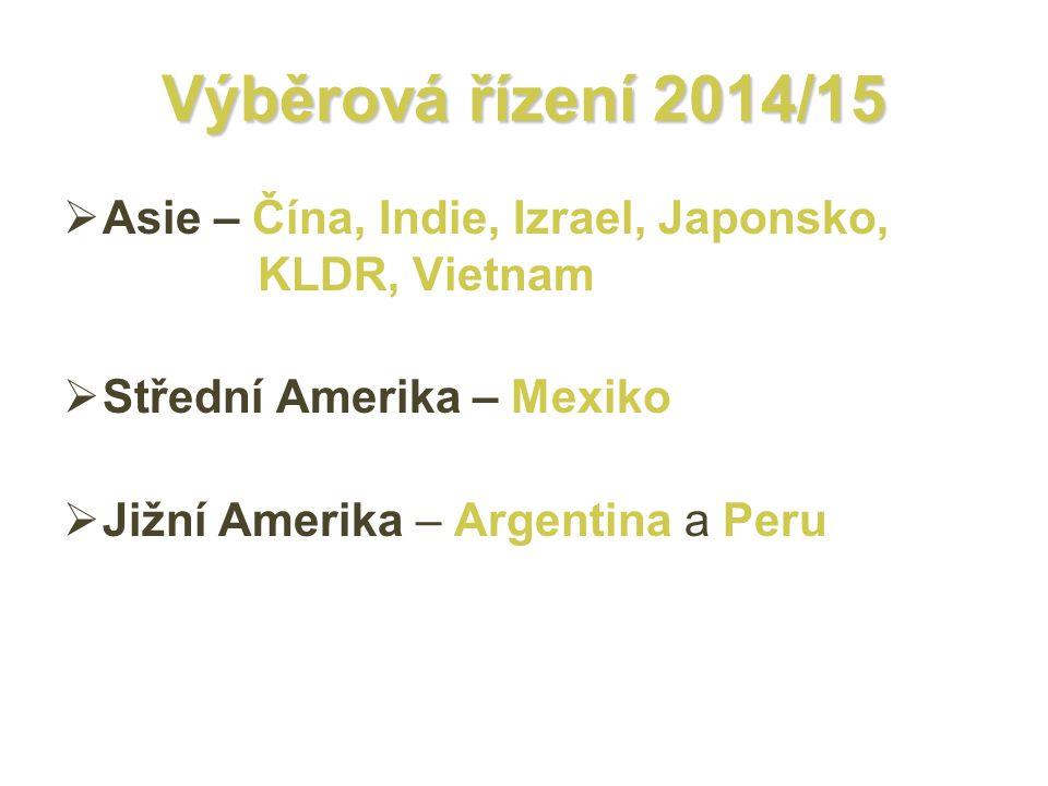 Výběrová řízení 2014/15  Asie – Čína, Indie, Izrael, Japonsko, KLDR, Vietnam  Střední Amerika – Mexiko  Jižní Amerika – Argentina a Peru