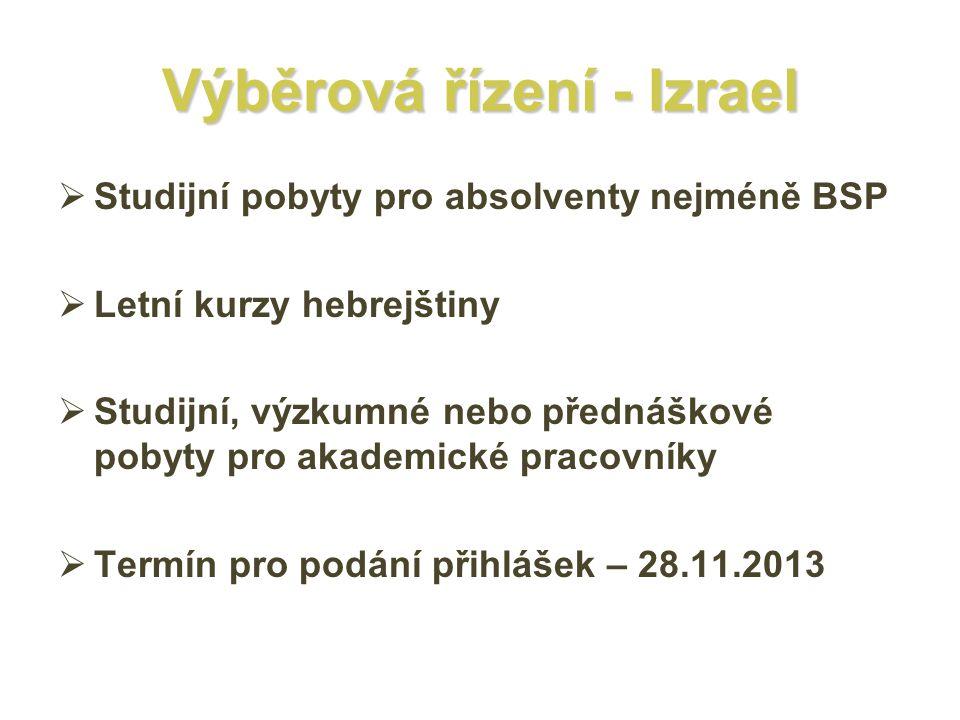 Výběrová řízení - Izrael  Studijní pobyty pro absolventy nejméně BSP  Letní kurzy hebrejštiny  Studijní, výzkumné nebo přednáškové pobyty pro akademické pracovníky  Termín pro podání přihlášek – 28.11.2013