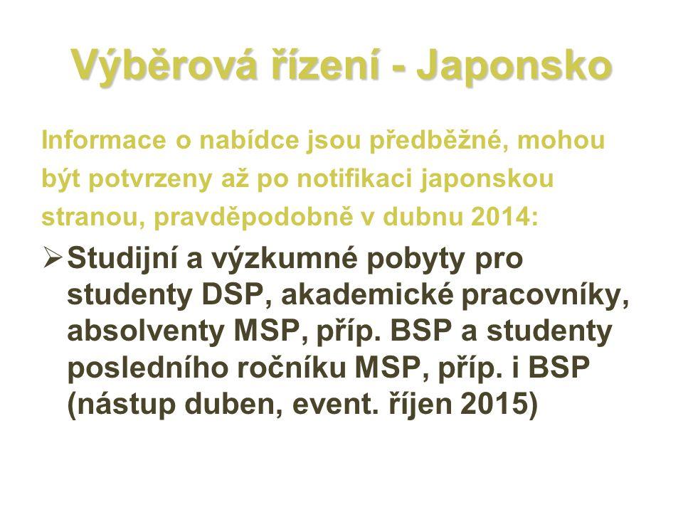 Výběrová řízení - Japonsko Informace o nabídce jsou předběžné, mohou být potvrzeny až po notifikaci japonskou stranou, pravděpodobně v dubnu 2014:  Studijní a výzkumné pobyty pro studenty DSP, akademické pracovníky, absolventy MSP, příp.