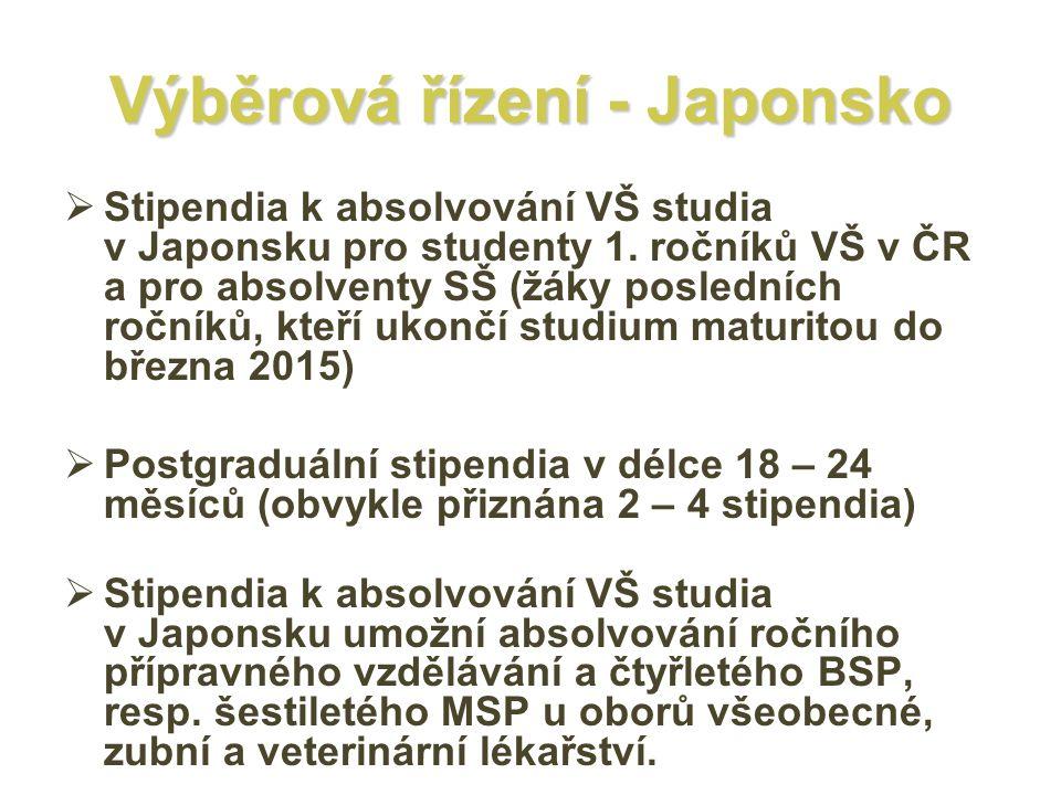 Výběrová řízení - Japonsko  Stipendia k absolvování VŠ studia v Japonsku pro studenty 1. ročníků VŠ v ČR a pro absolventy SŠ (žáky posledních ročníků