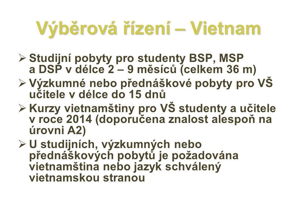 Výběrová řízení – Vietnam  Studijní pobyty pro studenty BSP, MSP a DSP v délce 2 – 9 měsíců (celkem 36 m)  Výzkumné nebo přednáškové pobyty pro VŠ učitele v délce do 15 dnů  Kurzy vietnamštiny pro VŠ studenty a učitele v roce 2014 (doporučena znalost alespoň na úrovni A2)  U studijních, výzkumných nebo přednáškových pobytů je požadována vietnamština nebo jazyk schválený vietnamskou stranou