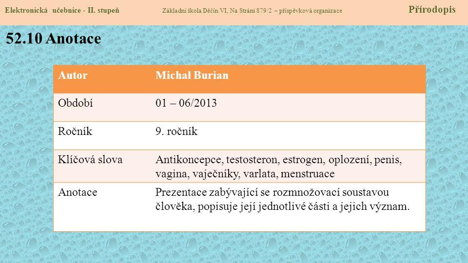 Elektronická učebnice - II. stupeň Základní škola Děčín VI, Na Stráni 879/2 – příspěvková organizace Přírodopis AutorMichal Burian Období01 – 06/2013