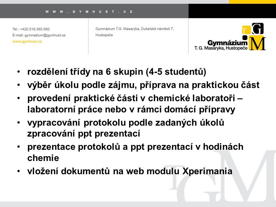 rozdělení třídy na 6 skupin (4-5 studentů) výběr úkolu podle zájmu, příprava na praktickou část provedení praktické části v chemické laboratoři – laboratorní práce nebo v rámci domácí přípravy vypracování protokolu podle zadaných úkolů zpracování ppt prezentací prezentace protokolů a ppt prezentací v hodinách chemie vložení dokumentů na web modulu Xperimania