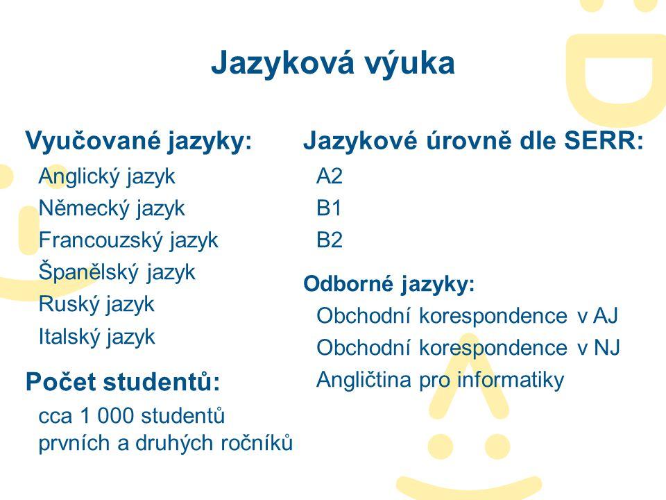 Jazyková výuka Vyučované jazyky: Anglický jazyk Německý jazyk Francouzský jazyk Španělský jazyk Ruský jazyk Italský jazyk Počet studentů: cca 1 000 st