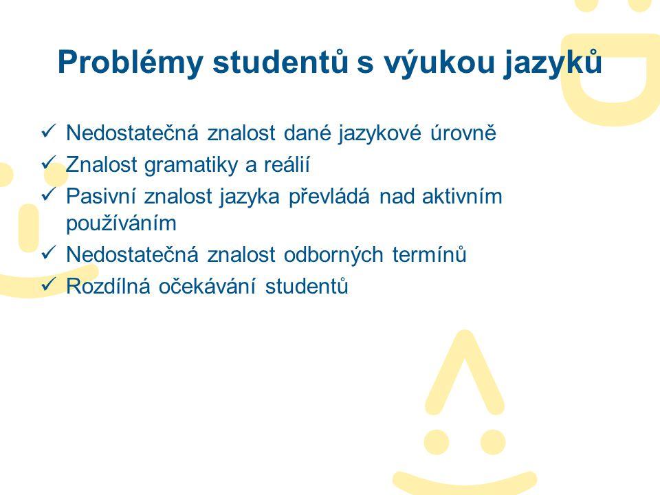 Problémy studentů s výukou jazyků Nedostatečná znalost dané jazykové úrovně Znalost gramatiky a reálií Pasivní znalost jazyka převládá nad aktivním po