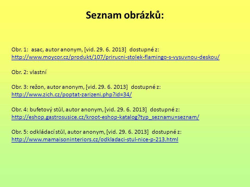 Seznam obrázků: Obr. 1: asac, autor anonym, [vid. 29. 6. 2013] dostupné z: http://www.moycor.cz/produkt/107/prirucni-stolek-flamingo-s-vysuvnou-deskou