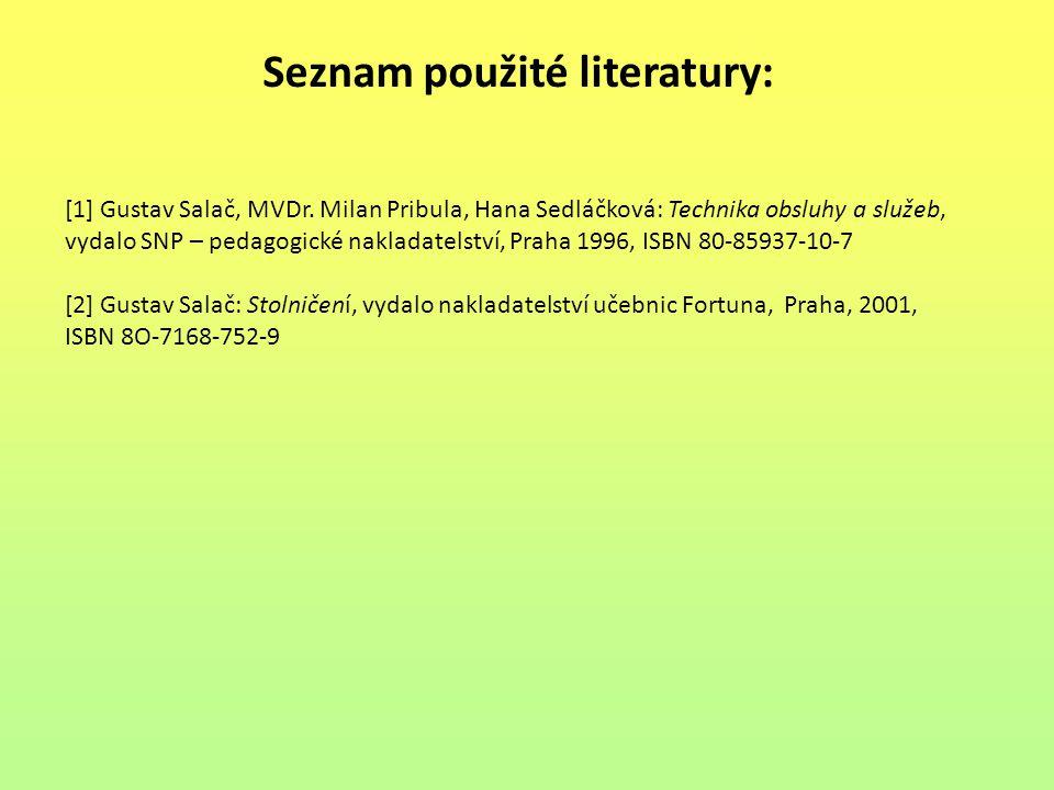 Seznam použité literatury: [1] Gustav Salač, MVDr. Milan Pribula, Hana Sedláčková: Technika obsluhy a služeb, vydalo SNP – pedagogické nakladatelství,