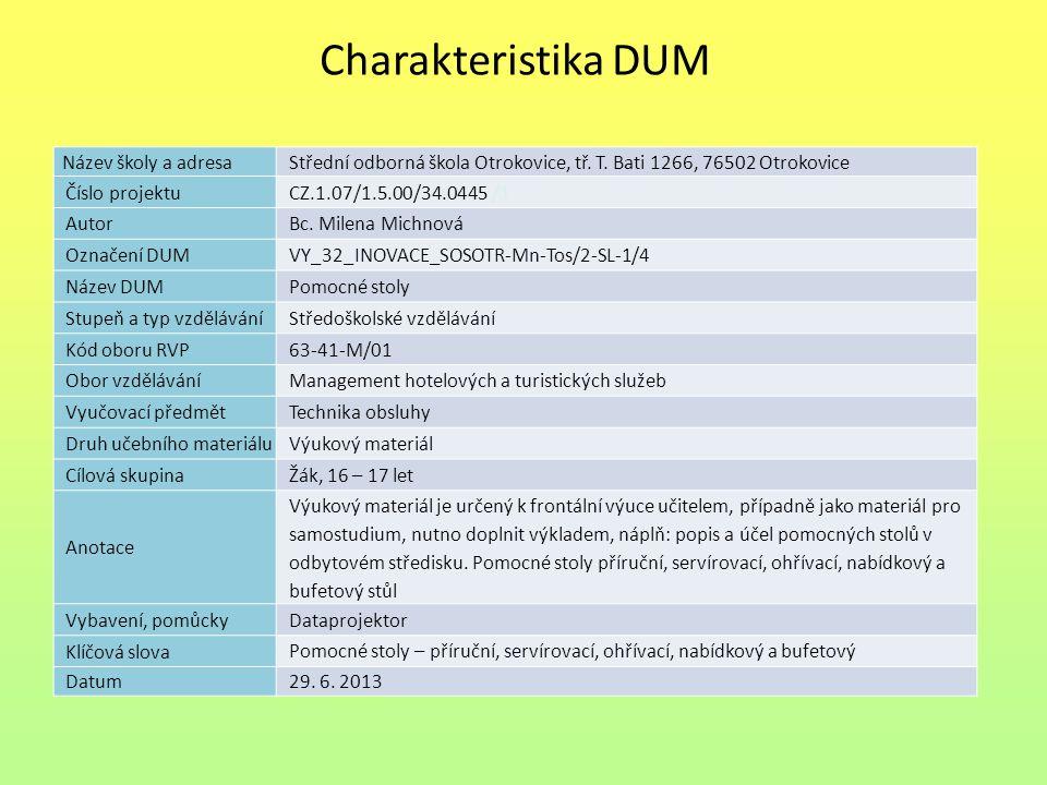 Pomocné stoly Náplň výuky Popis a využití pomocných stolů: Příručního Servírovacího Ohřívacího Nabídkové Bufetové